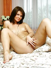 Wild college girl Oleja strip naked in her bedroom