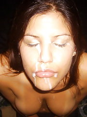 My ex gf posing with hot cum on her face